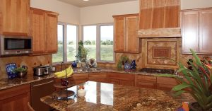 Loveland Design Custom Kitchen Remodel Granite, tile and cabinets